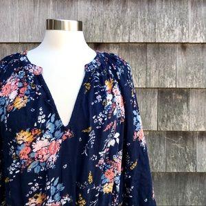Lucky Brand Blue Floral Boho Dress 2X
